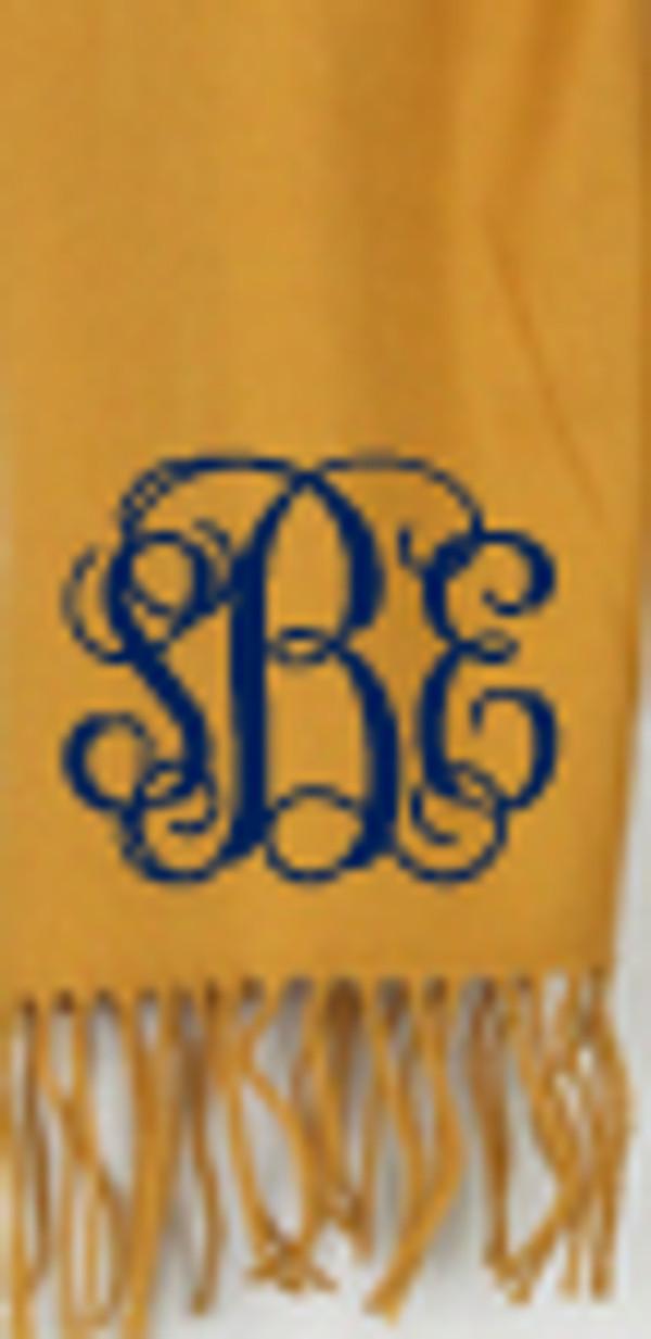 Monogrammed Cashmere Feel Winter Scarf  www.tinytulip.com Mustard with Navy Interlocking Font