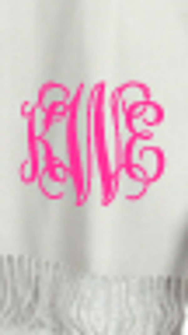 Monogrammed Cashmere Feel Winter Scarf  www.tinytulip.com Silver with Hot Pink Interlocking Font