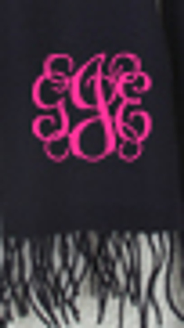 Monogrammed Cashmere Feel Winter Scarf  www.tinytulip.com Navy with Hot Pink Interlocking Font