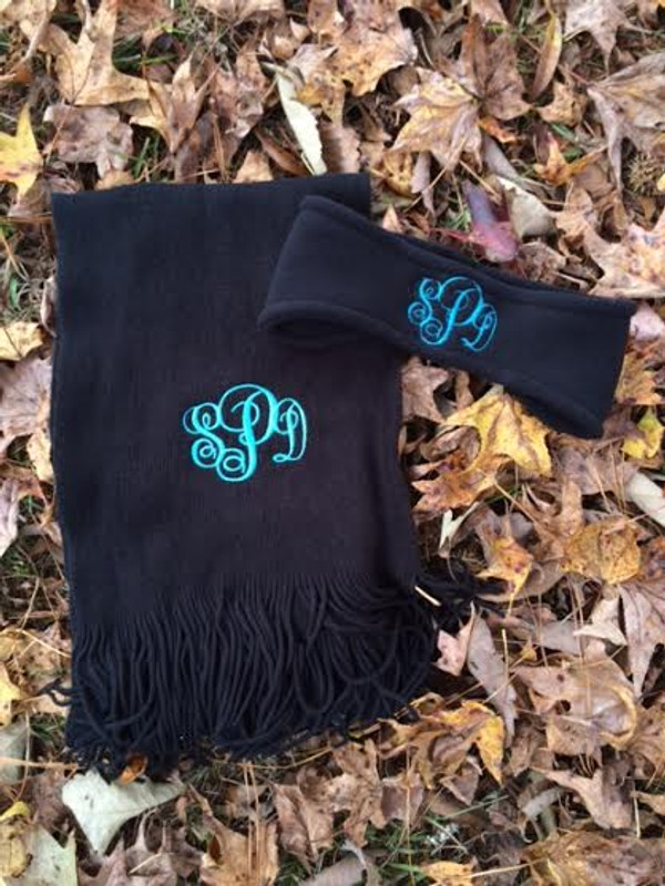 Monogrammed Cashmere Feel Winter Scarf  www.tinytulip.com Turquoise Emma Font