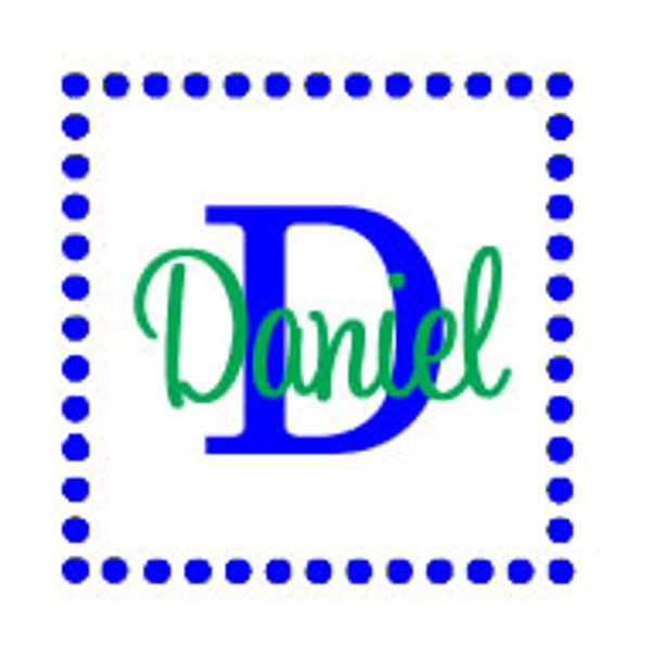 Dot Square Frame Wall Vinyl  www.tinytulip.com Royal Blue Frame Color & Lime Green Font Color