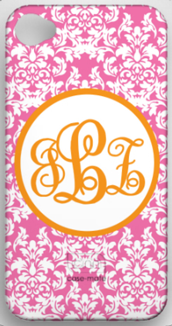 Monogrammed Phone Cover iphone blackberry samsung www.tinytulip.com Lilly Pink Damask with Orange Hollow Circle Emma Script Font