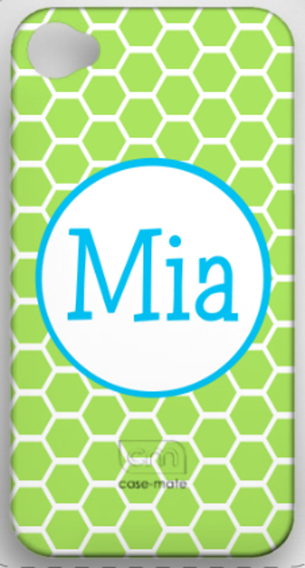 Monogrammed Phone Cover iphone blackberry samsung www.tinytulip.com Lime Green Honeycomb with Turquoise Hollow Circle Blake Font