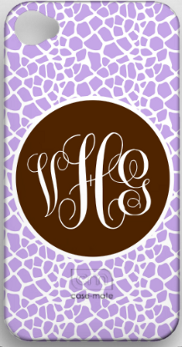 Monogrammed Phone Cover iphone blackberry samsung www.tinytulip.com Lavender Giraffe with Brown Solid Circle Emma Script Font