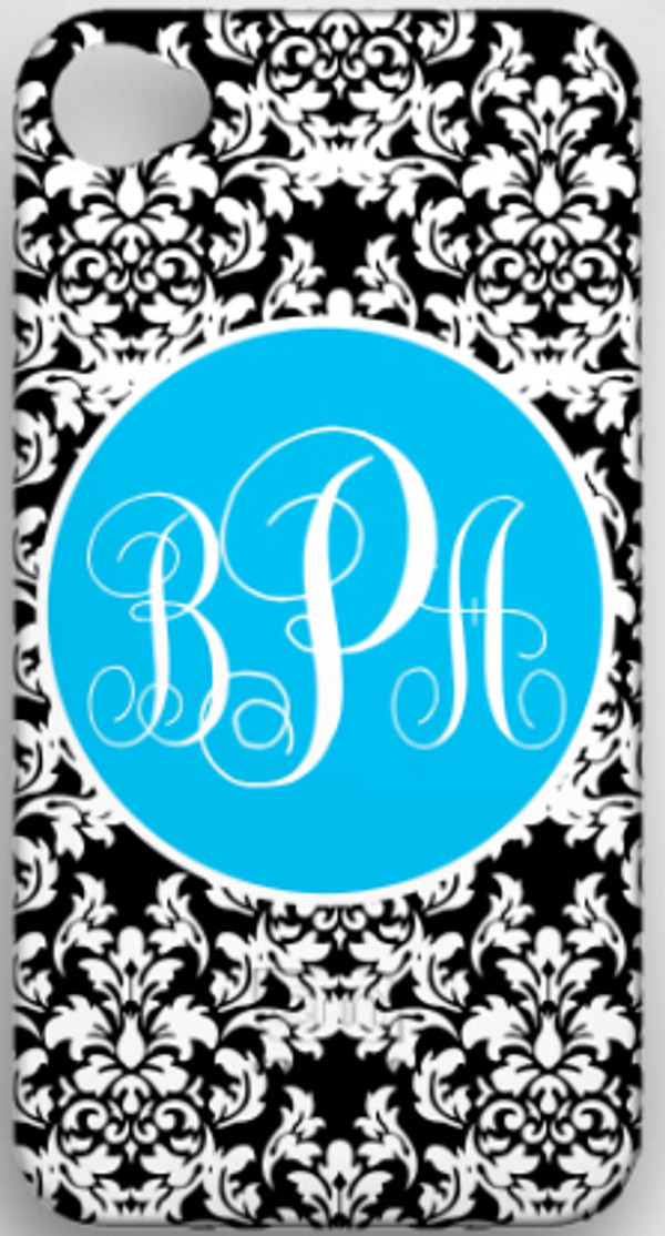 Monogrammed Phone Cover iphone blackberry samsung www.tinytulip.com Black Damask with Turquoise Solid Circle Emma Script Font
