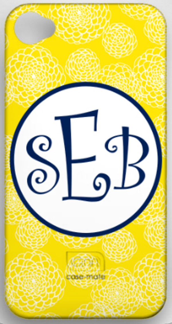 Monogrammed Phone Cover iphone blackberry samsung www.tinytulip.com Yellow Zinnia with Navy Hollow Circle Curly Font