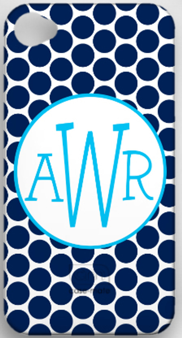 Monogrammed Phone Cover iphone blackberry samsung www.tinytulip.com Navy Polka Dot with Hollow Circle Turquoise Blake Font