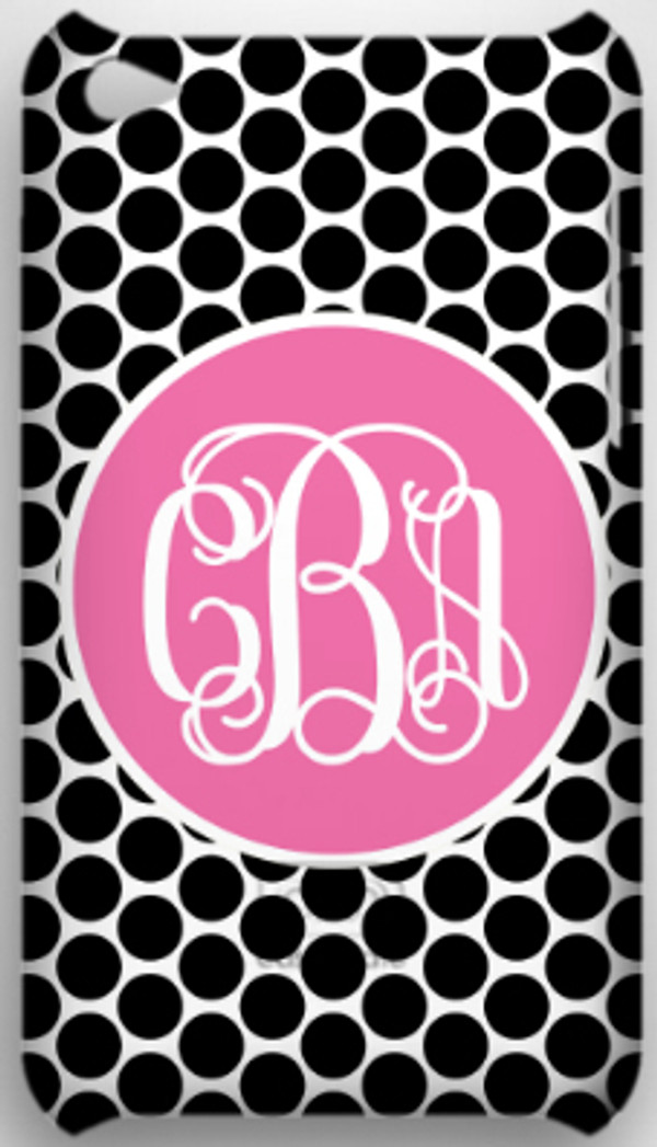 Monogrammed Phone Cover iphone blackberry samsung www.tinytulip.com Black Polka Dot with Solid Circle Lilly Pink Interlocking Font
