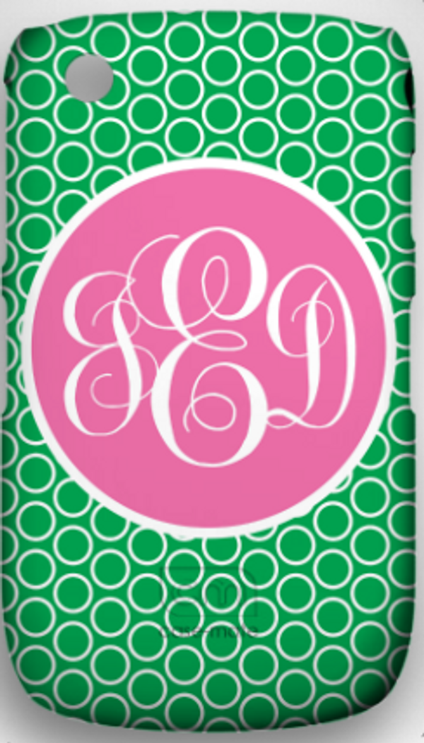 Monogrammed Phone Cover iphone blackberry samsung www.tinytulip.com Kelly Green Circles Pattern with Solid Circle Lilly Pink Emma Script