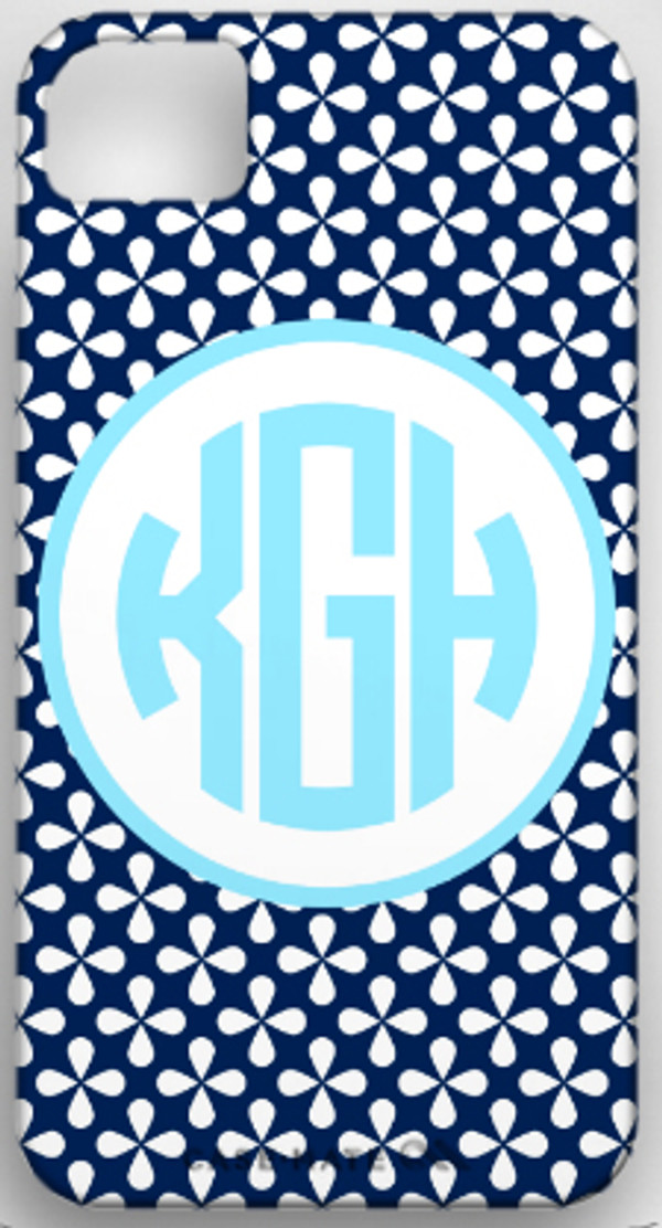 Monogrammed Phone Cover iphone blackberry samsung www.tinytulip.com Navy Clovers Pattern with Hollow Circle Baby Blue Circle Font