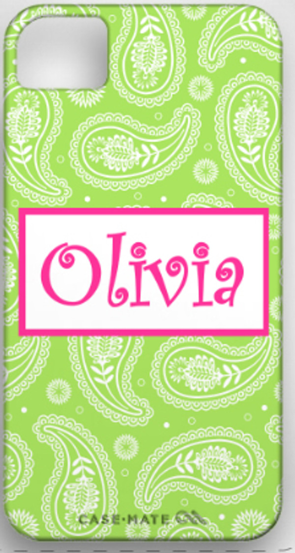 Monogrammed Phone Cover iphone blackberry samsung www.tinytulip.com Lime Green Paisley Pattern with Hollow Rectangle Hot Pink Curly Font