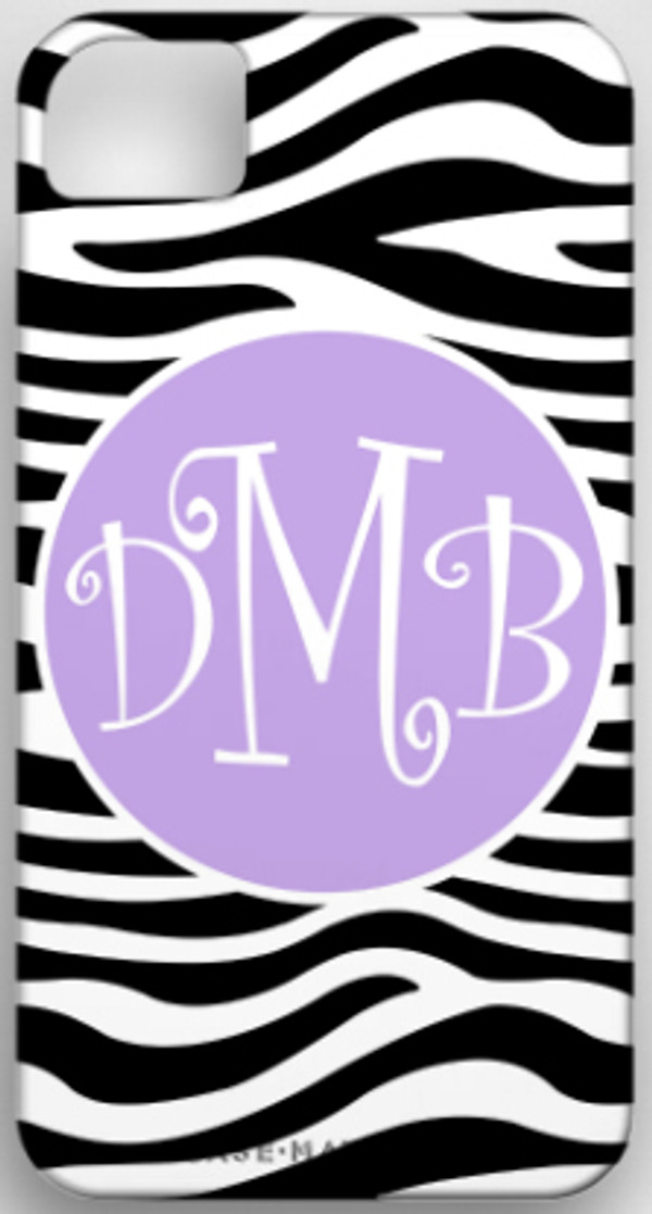 Monogrammed Phone Cover iphone blackberry samsung www.tinytulip.com Black Zebra Pattern with Solid Circle Lavender Curly Font