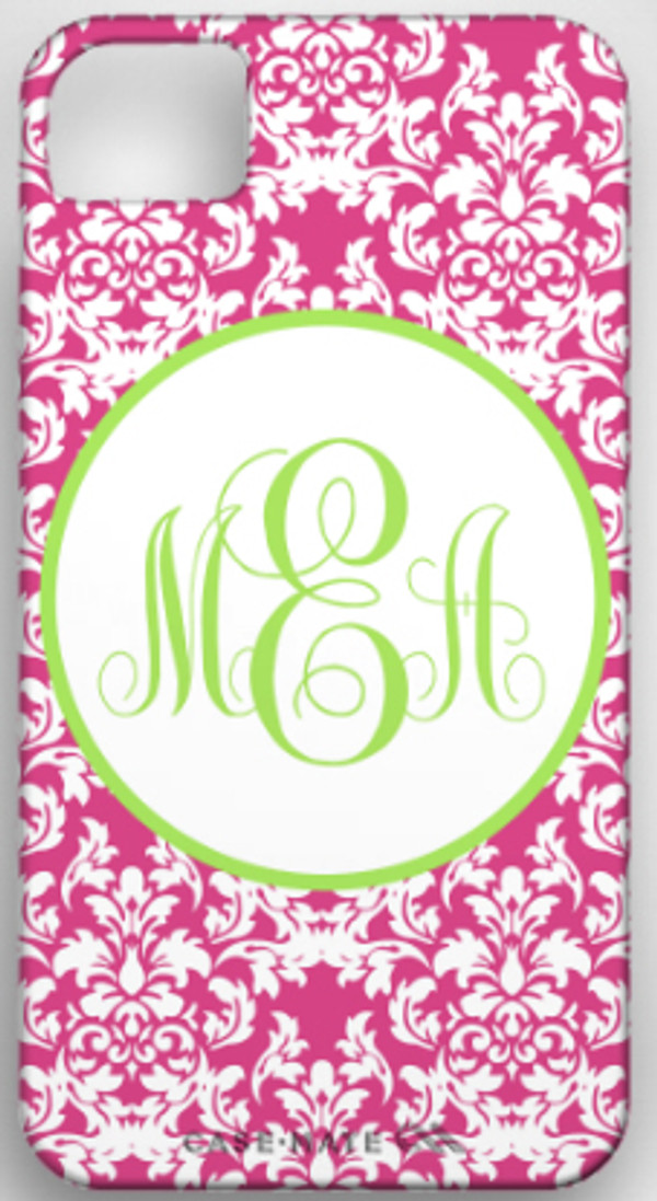 Monogrammed Phone Cover iphone blackberry samsung www.tinytulip.com Hot Pink Damask Pattern with Hollow Circle Lime Green Emma Script Font