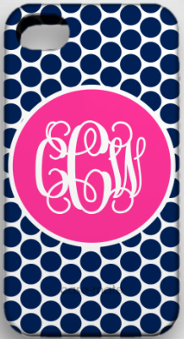 Monogrammed Phone Cover iphone blackberry samsung www.tinytulip.com Navy Polka Dot with Solid Circle Hot Pink Interlocking Font