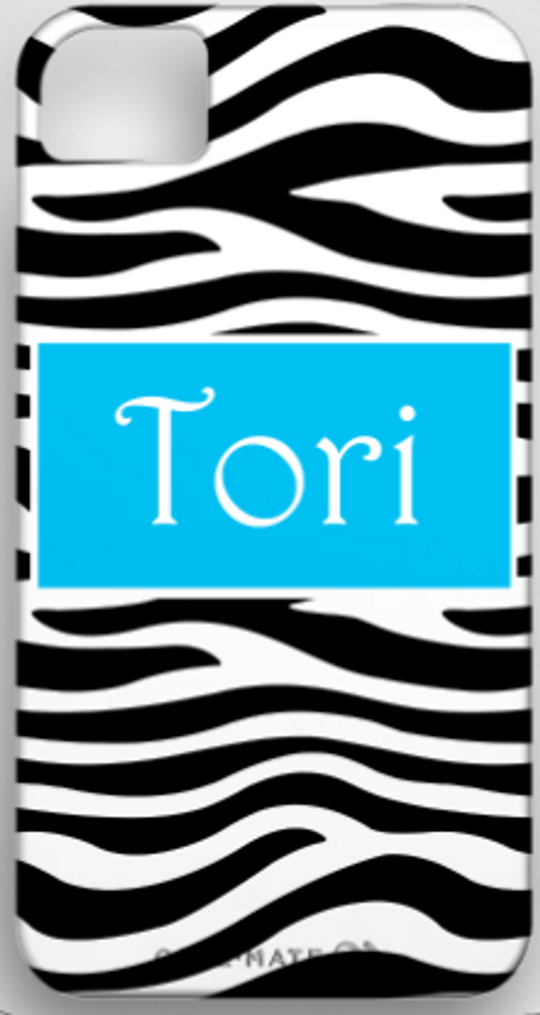 Monogrammed Phone Cover iphone blackberry samsung www.tinytulip.com Black Zebra Pattern with Solid Rectangle Victorian Font