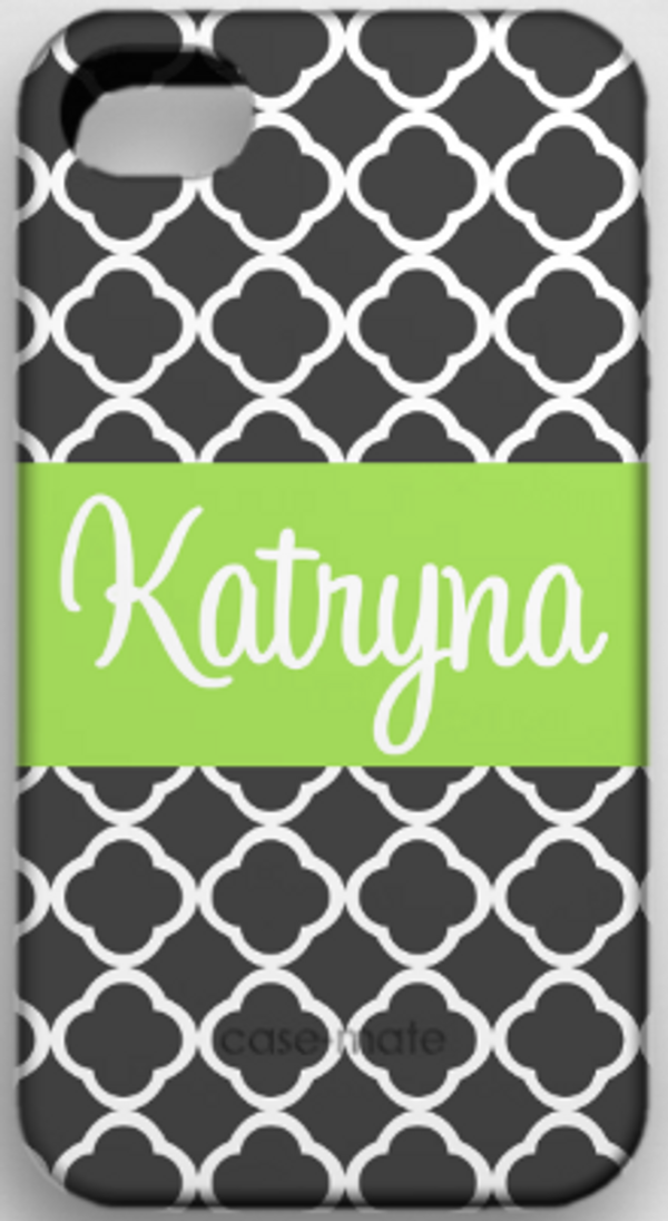 Monogrammed Phone Cover iphone blackberry samsung www.tinytulip.com Charcoal Gray Tiles Pattern with Solid Ribbon Lime Green Cursive Font