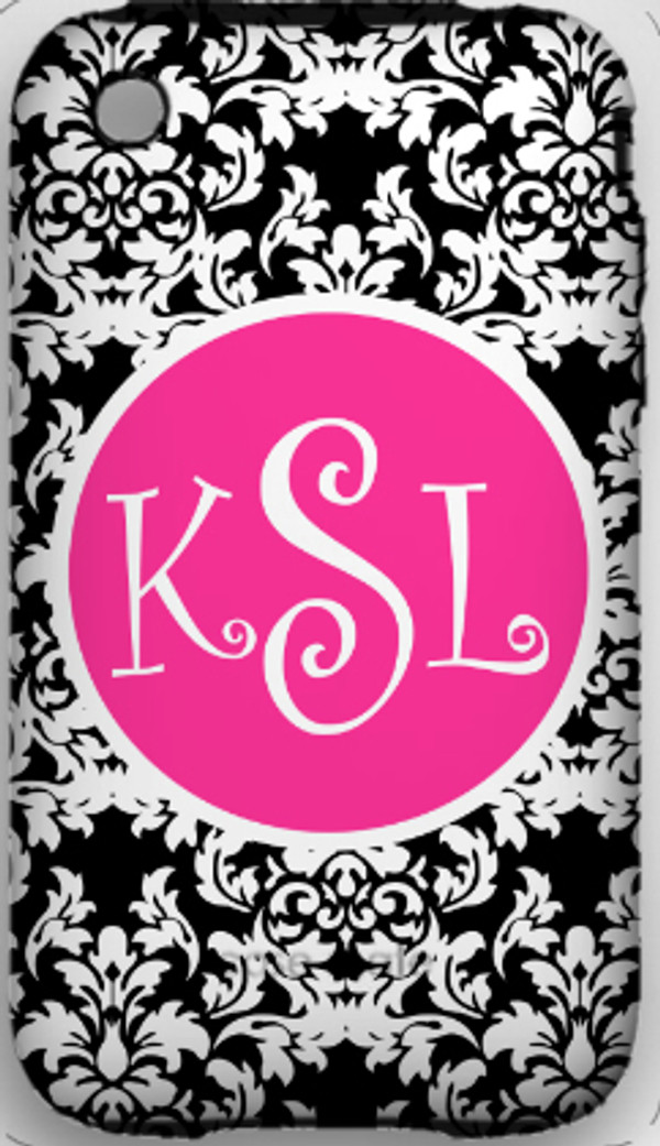 Monogrammed Phone Cover iphone blackberry samsung www.tinytulip.com Black Damask Pattern with Solid Circle Hot Pink Curly Font