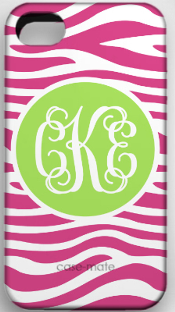 Monogrammed Phone Cover iphone blackberry samsung www.tinytulip.com Hot Pink Zebra Pattern with Solid Circle Lime Green Interlocking Font