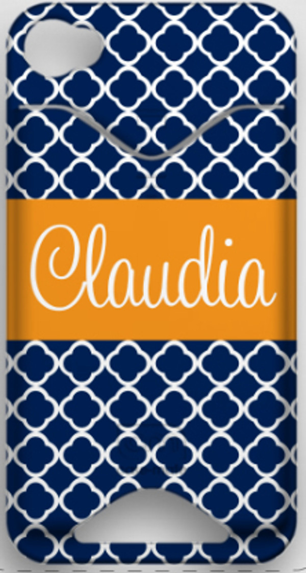 Monogrammed Phone Cover iphone blackberry samsung www.tinytulip.com Navy Tiles Pattern with Solid Ribbon Orange Cursive Font ID Case