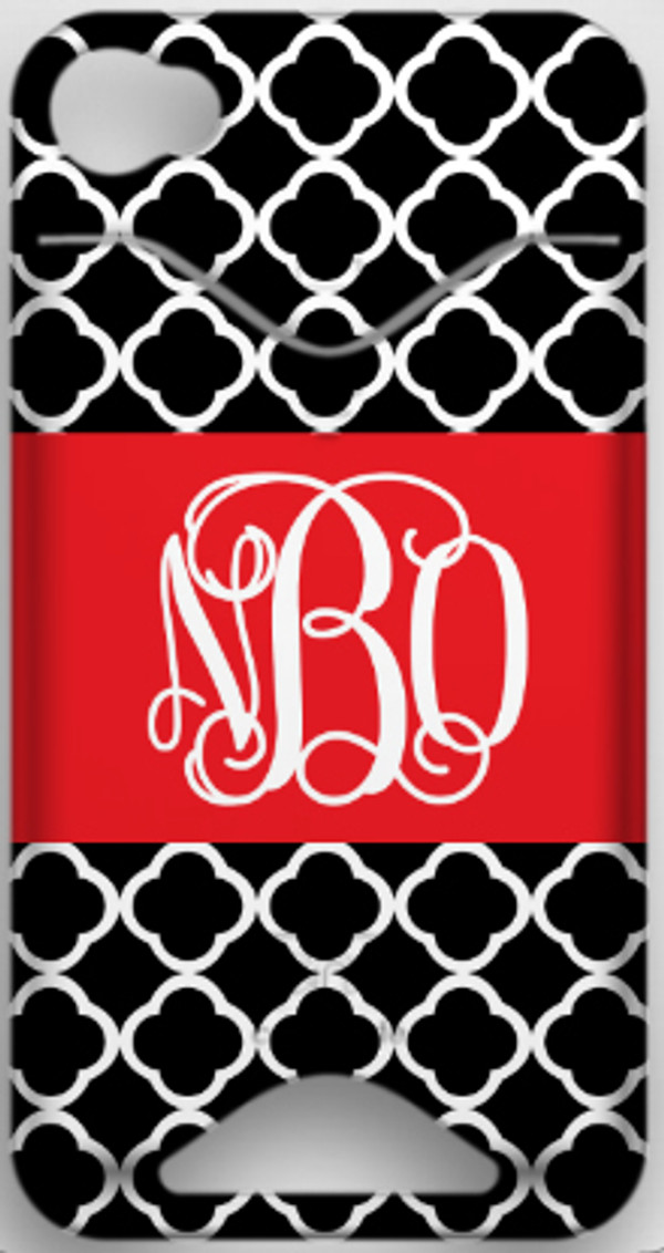 Monogrammed Phone Cover iphone blackberry samsung www.tinytulip.com Black Tiles Pattern with Solid Ribbon Red Interlocking Font ID Case