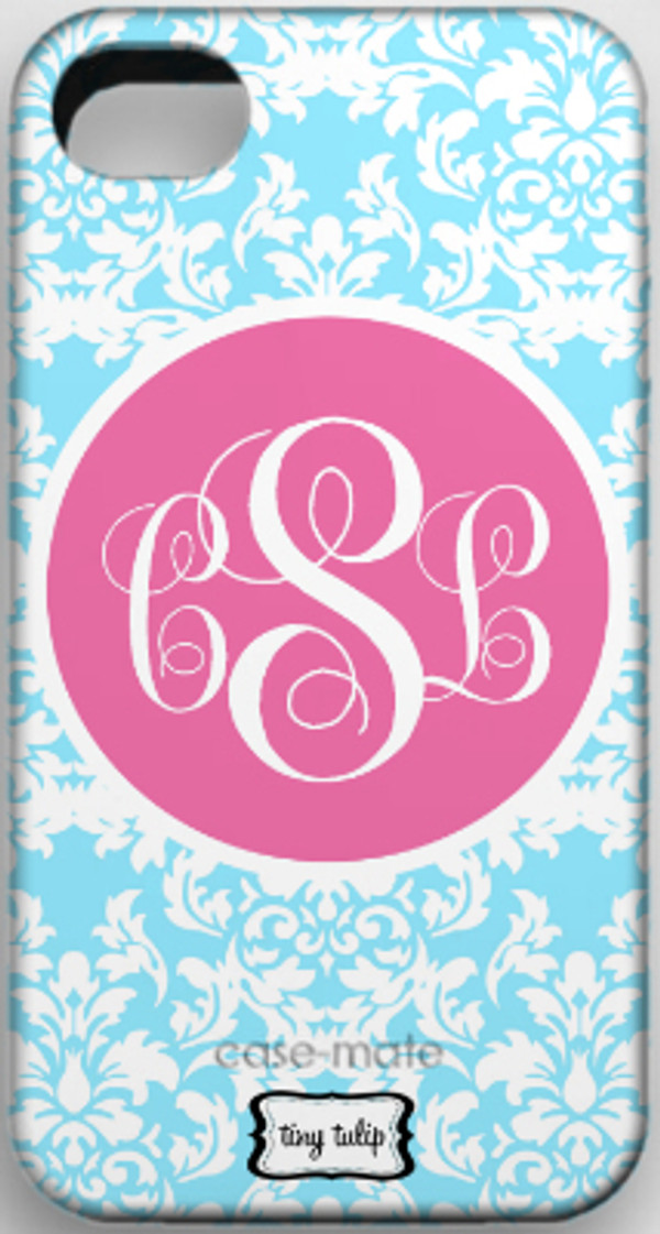 Monogrammed Phone Cover iphone blackberry samsung www.tinytulip.com Baby Blue Damask with Lilly Pink Solid Circle Emma Script Font