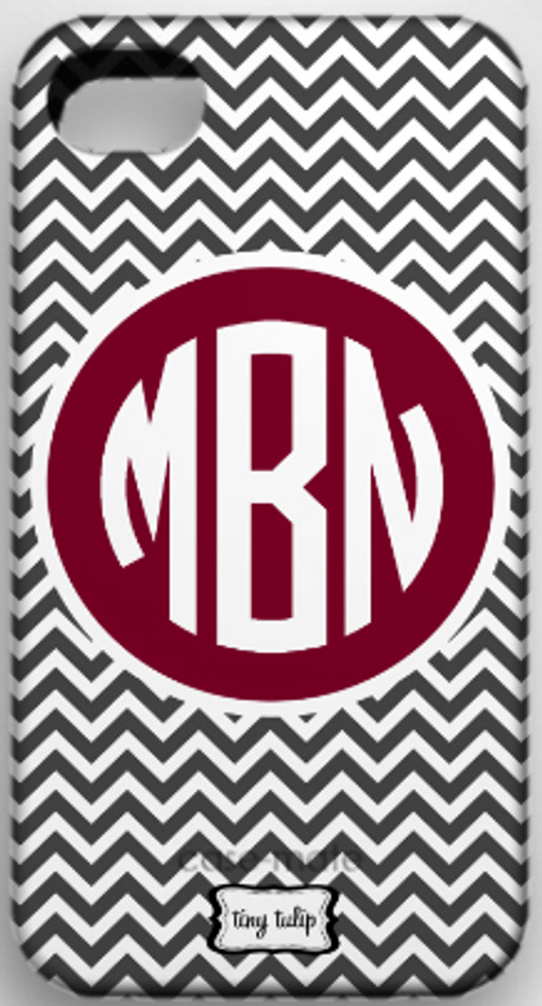 Monogrammed Phone Cover iphone blackberry samsung www.tinytulip.com Charcoal Gray Chevron Pattern with Solid Circle Garnet Circle Font