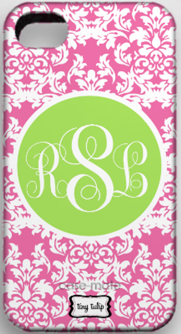 Monogrammed Phone Cover iphone blackberry samsung www.tinytulip.com Lilly Pink Damask with Lime Green Solid Circle Emma Script Font