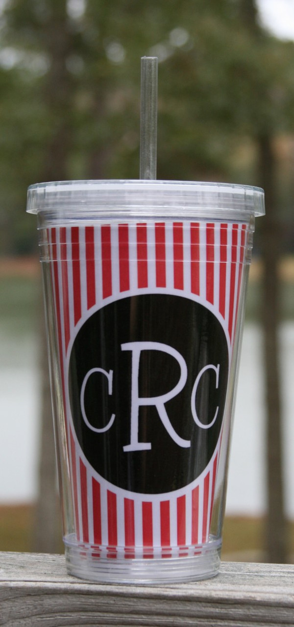 Insulated Acrylic Straw Cup Monogrammed www.tinytulip.com Red Seersucker Stripe Pattern with Black Solid Circle Blake Font