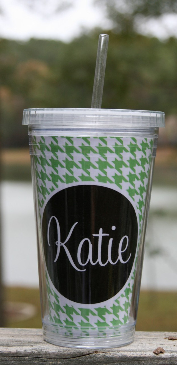 Insulated Acrylic Straw Cup Monogrammed www.tinytulip.com Lime Green Houndstooth Pattern with Black Solid Circle Cursive Font