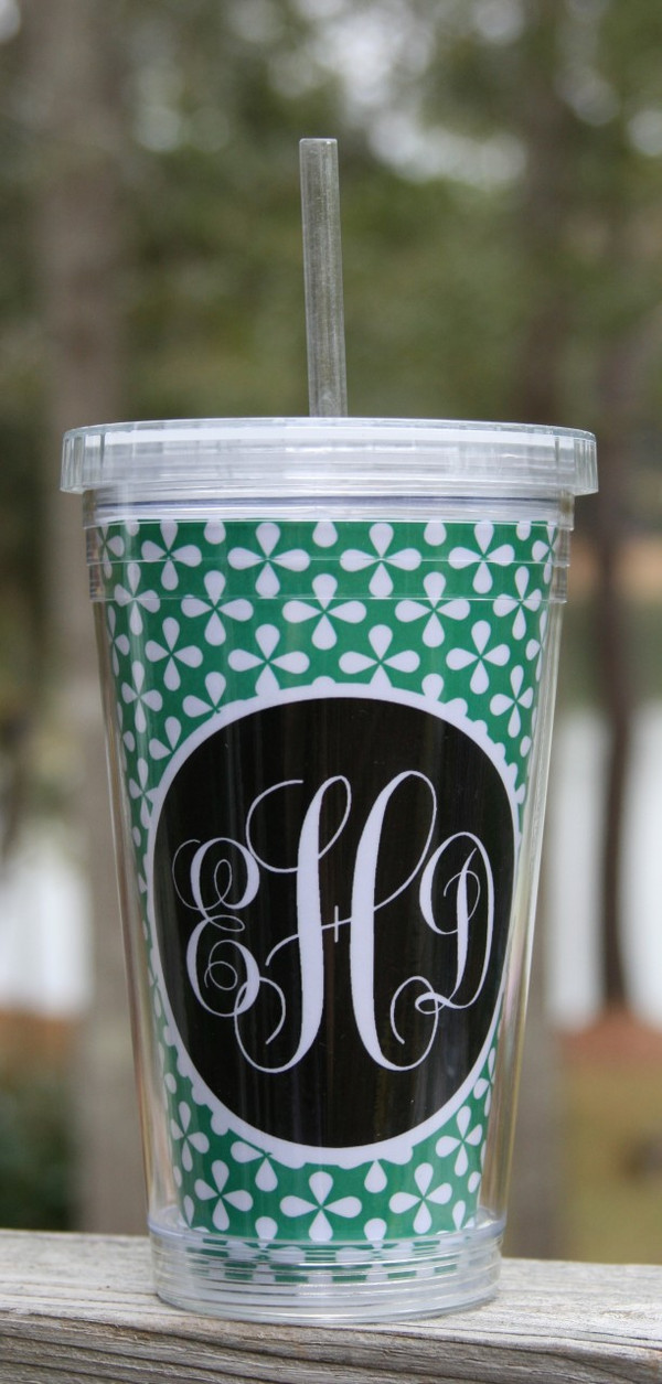 Insulated Acrylic Straw Cup Monogrammed www.tinytulip.com Kelly Green Clovers Pattern with Black Solid Circle Emma Script Font