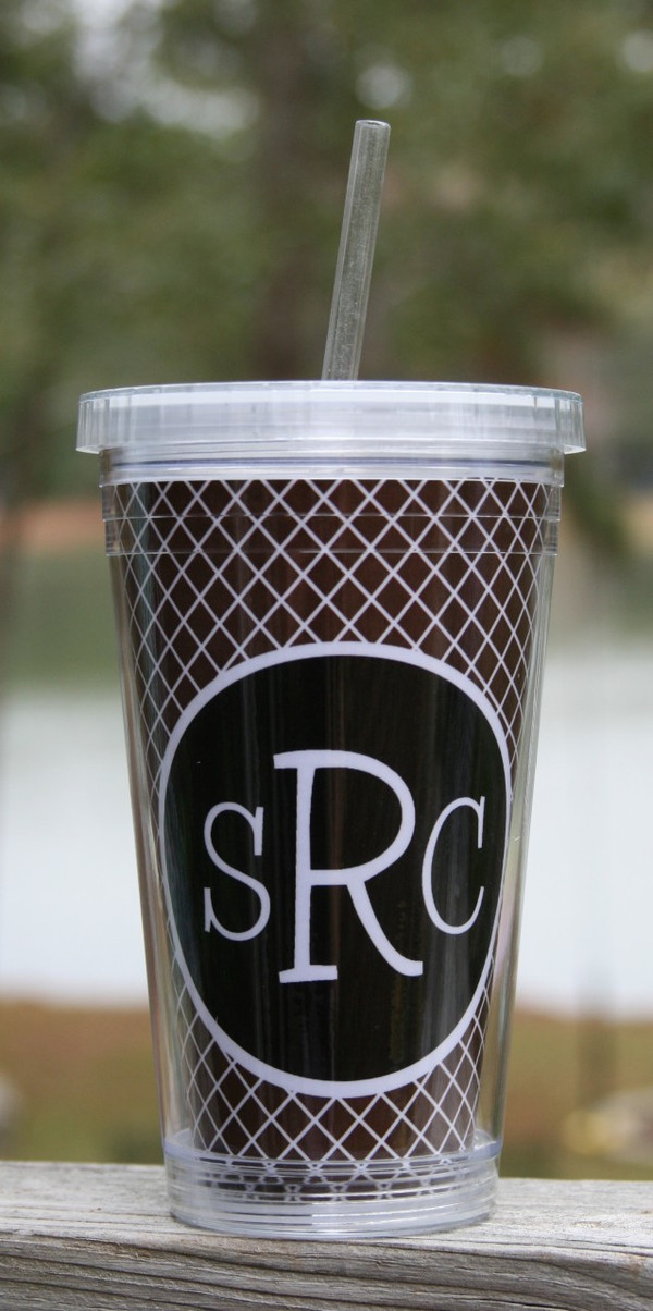 Insulated Acrylic Straw Cup Monogrammed www.tinytulip.com Garnet Lattice Pattern with Black Solid Circle Blake Font