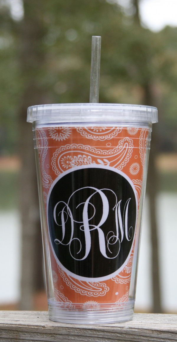 Insulated Acrylic Straw Cup Monogrammed www.tinytulip.com Orange Paisley Pattern with Black Solid Circle Emma Script Font