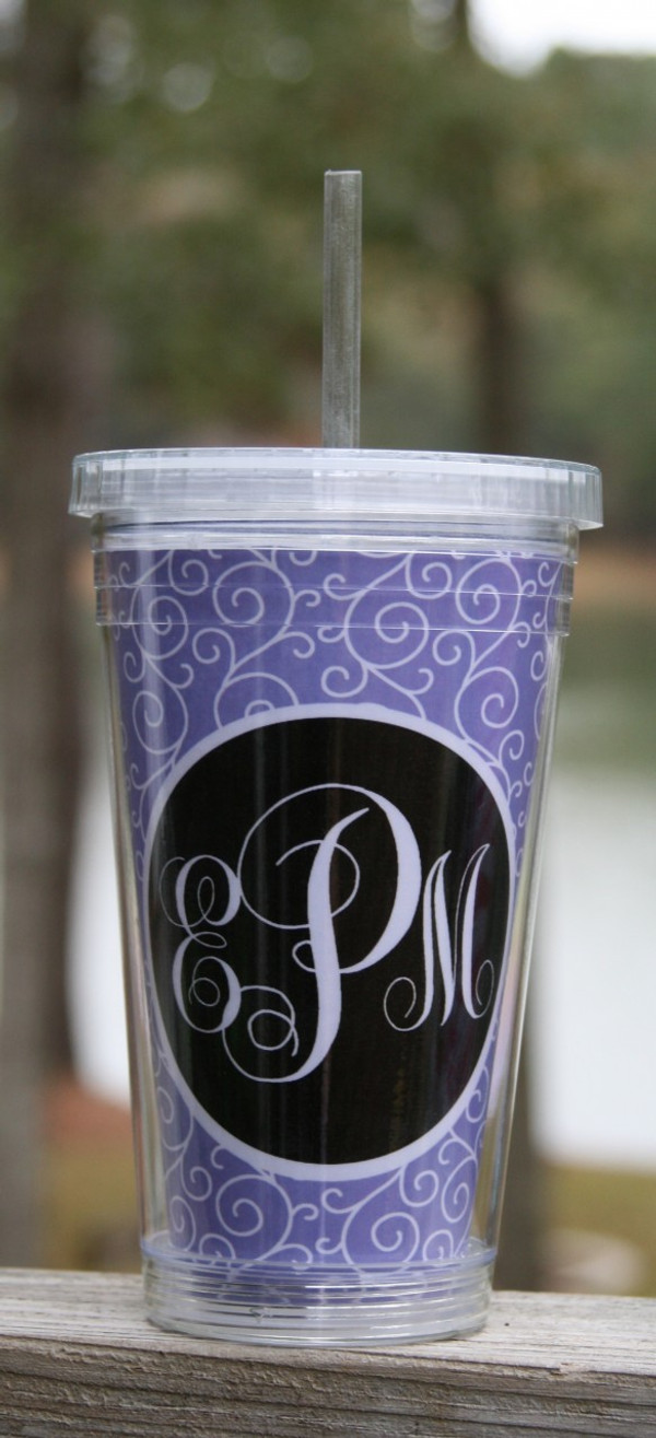 Insulated Acrylic Straw Cup Monogrammed www.tinytulip.com Lavender Swirls Pattern with Black Solid Circle Emma Script Font