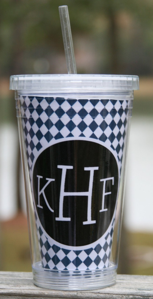 Insulated Acrylic Straw Cup Monogrammed www.tinytulip.com Navy Argyle Pattern with Black Solid Circle Blake Font