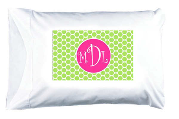 Personalized Pillowcase Monogrammed  www.tinytulip.com Lime Green Polka Dot Pattern with Solid Circle Hot Pink Curly Font