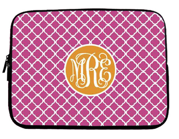Monogram Neoprene Laptop Sleeve Case  www.tinytulip.com Lilly Pink Tiles with Solid Circle Orange Interlocking Font