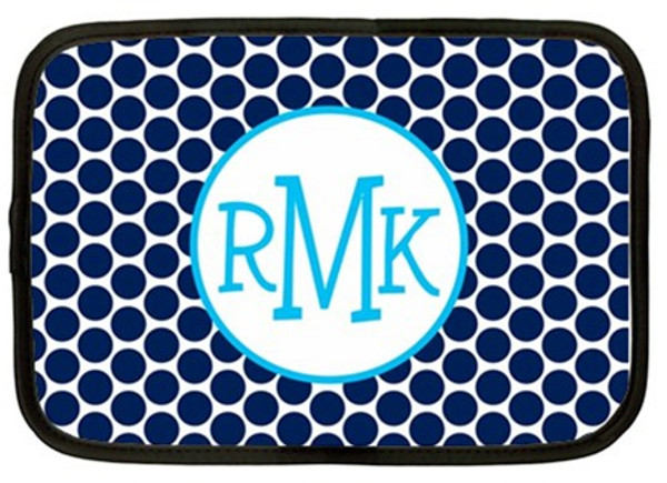 Monogram Neoprene Laptop Sleeve Case  www.tinytulip.com Navy Polka Dot  with Hollow Circle Turquoise Blake Font