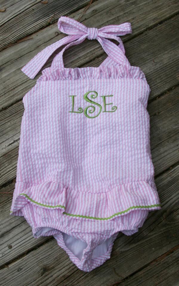 Monogrammed Girls Seersucker Swim Bathing Suit   www.tinytulip.com Pink Seersucker with Lime Green Curly Font