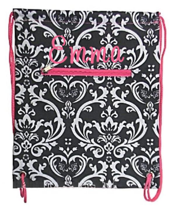 Damask Drawstring Backpack  www.tinytulip.com Black Damask Backpack with Hot Pink Cursive Font