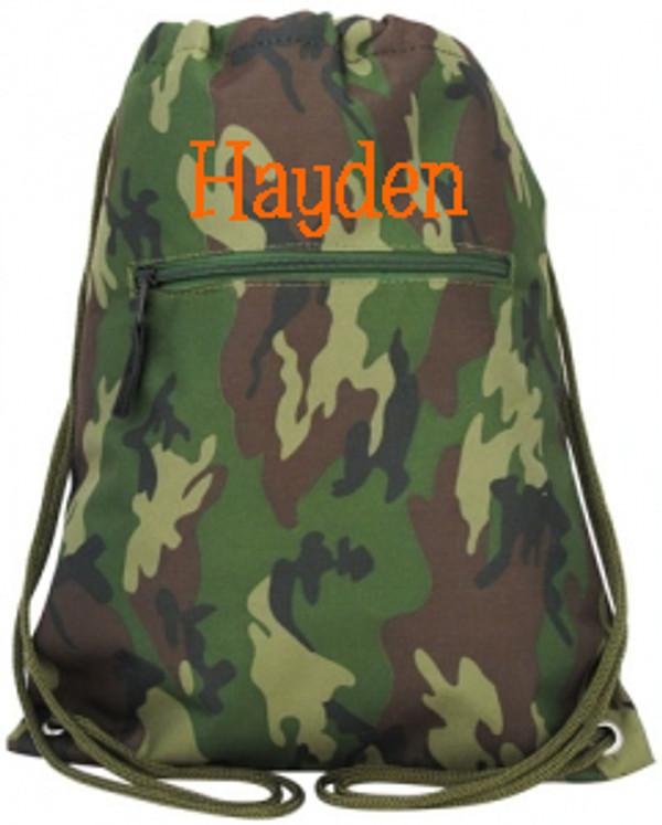 Camo Drawstring Backpack   www.tinytulip.com Orange Blake Font