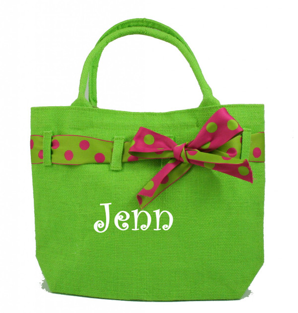 Monogrammed Ribbon Jute Purse   www.tinytulip.com Lime Green Jute with White Curly Font