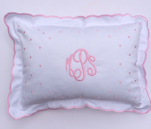 Monogrammed Scallop Baby Pillow   www.tinytulip.com