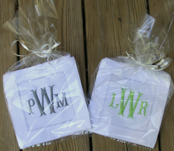 Monogrammed Hemstitch Cocktail Napkins   Set of 4  www.tinytulip.com Charcoal Gray & Lime Green Fishtail Font