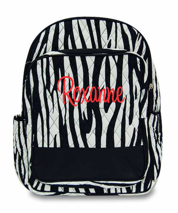 Monogrammed Quilted Zebra Backpack  www.tinytulip.com Black with Red Cursive Font