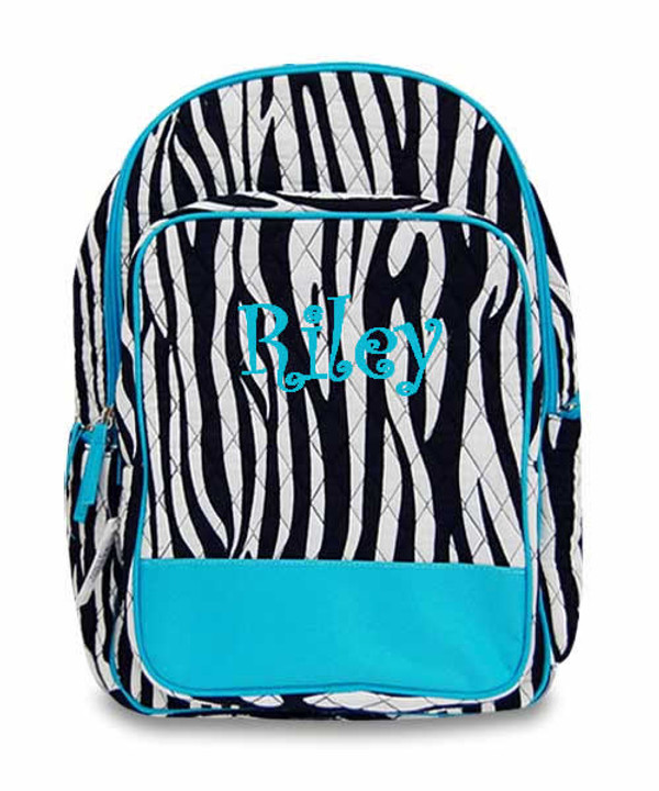 Monogrammed Quilted Zebra Backpack  www.tinytulip.com Turquoise with Turquoise Curly Font