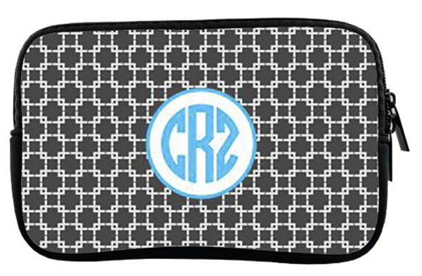 Monogrammed Kindle Fire Sleeve Case   www.tinytulip.com Charcoal Gray Squares with Hollow Circle Turquoise Circle Font