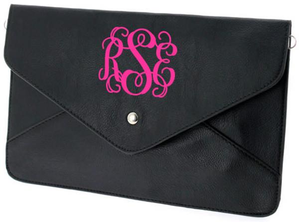 Monogrammed Envelope Clutch Cross Body Purse  www.tinytulip.com Black Clutch with Hot Pink Interlocking Monogram