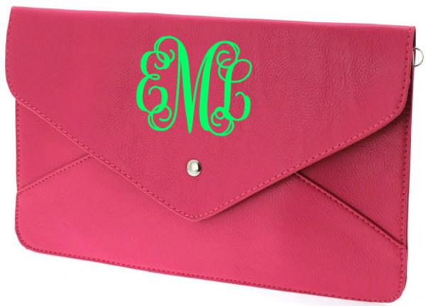 Monogrammed Envelope Clutch Cross Body Purse  www.tinytulip.com Hot Pink Clutch with Lime Green Interlocking Monogram