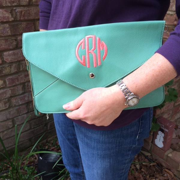 Monogrammed Envelope Clutch Cross Body  Purse  www.tinytulip.com Mint Clutch with Coral Circle Monogram