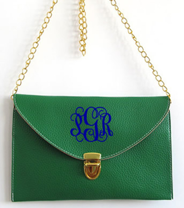 Monogrammed Envelope Latch Clutch Cross Body Purse  www.tinytulip.com Green with Interlocking Royal Blue Font